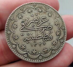 Rare Silver 1917 Ottoman Empire 20 Kurus