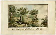 Antique Drawing-LANDSCAPE-RUIN-RIVER-Ketjen-ca. 1820