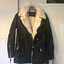 gorgeous black river island wax parka fur leather jacket coat size 8