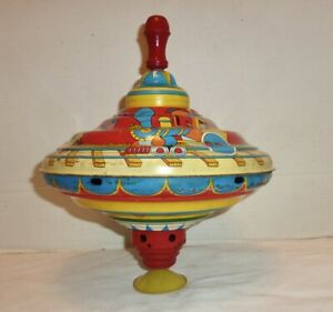 Large Antique Spinning Top Ohio Art Trains with Children Design