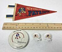 Vintage New England Patriots Mini Pennant, Gatorade Lid, & 2 Helmet Push Pin