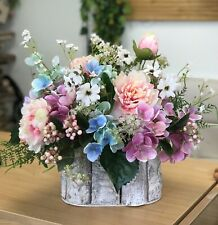 Artificial Hydrangea, Peony, Berry, Chic Flower Arrangement, Log Planter Pot