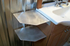 LOT OF 2 ALUMINUM SHELF SIDE MOUNT BATHROOM SHELVES CORNER 11.5 X 10