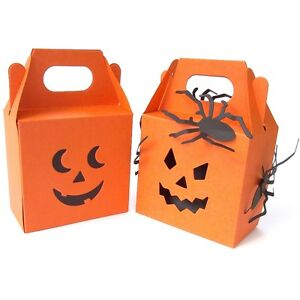 Halloween Pumpkin Sweetie Box With Double Face. Ghoulish Orange. Trick OR Treat