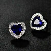 2.00 Ct Heart Sapphire & Diamond Stud Earrings Screw Back 14K White Gold Over