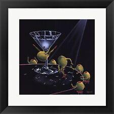 """Michael Godard,"""" Even Dirtier Martini""""  Framed Art, W/Matting  18x18"""