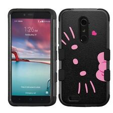 for ZTE ZMax Pro Z981 Impact Armor Rugged Hard Hybrid Cover Case Hello Kitty #BP