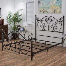 Denise Austin Home Horatio King Size Metal Bed Frame w/ Scrolls
