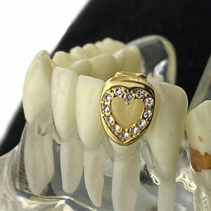 14k Gold Plated Heart Shape Tooth Iced One Bottom Single Open Face Cap Grillz