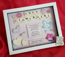 FLOWER GIRL THANK YOU GIFT FRAME PERSONALISED PICTURE KEEPSAKE PRESENT SCRABBLE
