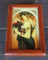 Vintage Reverse Painting Wooden Box Tarot Card Holder and Jewelry Keepsake
