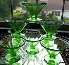 Vintage 8 green Depression Footed Glass Sherbet Dessert Bowls Dishes Glows