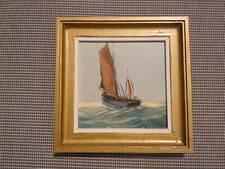 Deschamps Gabriel tableau huile sur isorel Thonier en pêche vieux gréement