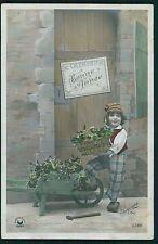 Pretty Edwardian Child Boy Wheelbarrow original old 1910s photo postcard 1093