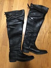 Burberry Black Leather Over the Knee Flat Boots 39 9