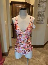 La Blanca Bathing Suit Swim Tankini Top UW & Bottoms 8 Rose Multi NWT $152 (110)