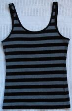 MISS SHOP Essentials Black & Grey Striped Tank Top, Size 12