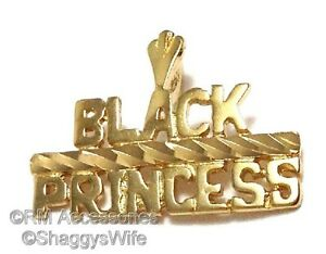 Black Princess Charm Word Pendant EP Gold Plated Jewelry with Lifetime Guarantee