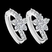 Women Lady 925 Sterling Silver Flower Zircon Snowflake Ear Stud Earrings Jewelry