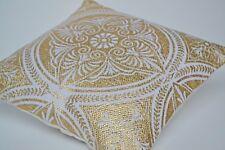 Mandala HOUSSE COUSSIN Chakra doré coton blanc 50cm 50.8cm main laine décorative