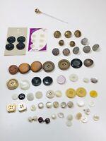 Huge Lot Vintage Buttons Pearl Wood Metal Plastic Art Deco Unique - All Sizes