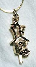 Delightful Sculpted Goldtone Birdhouse Pendant Necklace  +++++