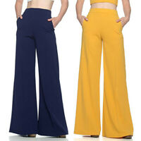 Fashion Women High Waist Solid Casual Loose Wide Leg Pants Flared Long Trousers