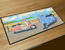Martin Wiscombe Vespa Scooters by the beach Mod bar runner home bar counter mat