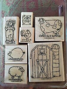 Stampin' Up ON THE FARM Set of 7 RARE Stamps 2002 Barn Cow Farmer Pig Sheep Hen