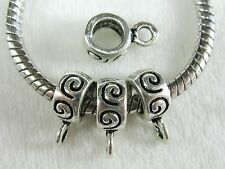 30pc Antique Silver Spiral Pattern Bail Beads fit European Jewelry etc # SB411