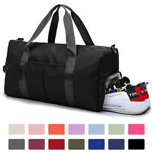 Sports Gym Duffle Bag Waterproof Women Men Travel w Wet Pocket Shoes Compartment
