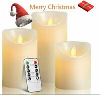 Candles Set Of 3 Real Flameless LED Timer Remote WAX Pillar Ivory Moving Wick US