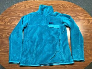 WOMENS USED LIGHTLY WORN PATAGONIA GREENISH BLUE PULLOVER SNAP T FLEECE LARGE