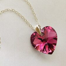 Swarovski Elements Necklace Pendant Crystal Heart Jewellery Rose Comet Silver