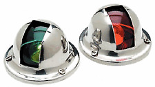 New Pair of Stainless Steel Nav Red and Green Bow Navigation Lights for Boats SS