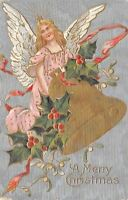 Christmas~Angel in Pink Robe Carries Gold Bell~Holly & Mistletoe~Silver Back~Emb