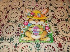 "Vtg Easter Bunny Diecut Cardboard Decoration Large 13"" Cute Egg Tulips Hat Bird"