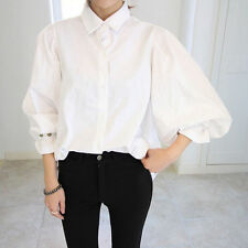 Women Retro Shirt Top Bubble Puff Sleeve Victorian Style OL Loose White Blouse