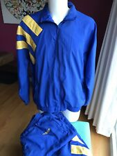 VTG Adidas Track Suit Jacket Pants Blue Yellow Stripes Colorblock Nylon L