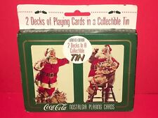 1995 Coca-Cola Nostalgia Playing Cards 2 Decks Collectable Tin Limited Edition