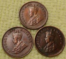 3 XF-AU British India King George V (3) 1/12 Anna coins 1914 1915 &, 1917