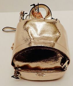 VICTORIA'S SECRET GOLD LEATHER TEXTURE MINI BACKPACK WITH ADJUSTABLE STRAPS NEW!