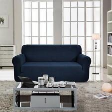 Enova Home Dark Blue Jacquard Spandex Fabric Box Cushion Loveseat Slipcovers
