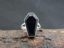 925 Solid Sterling Silver Ring Black Onyx Gemstone Coffin Ring Handmade Ring