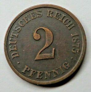 Germany-Empire 2 Pfennig 1875G Copper KM#2