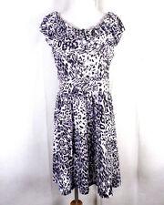 NWOT Brittney Ruffled Boat Neck Collar Dress Black White Animal Print Leopard L