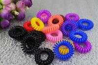 10 Spiral Plastic Hair Bands Baby Girls Ponytail Stretchy Elastic Bobbles Band