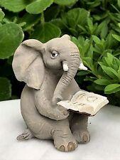 Miniature Dollhouse FAIRY GARDEN Figurine ~ Elephant Reading Book ~ NEW