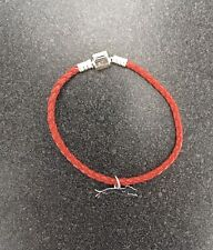 Whippet Silver Charm on Red Leather Bracelet - New - Free Shipping