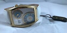 PICARD & CIE LADIES WATCH GOLD CASE / WHITE DIAL AND LEATHER BAND